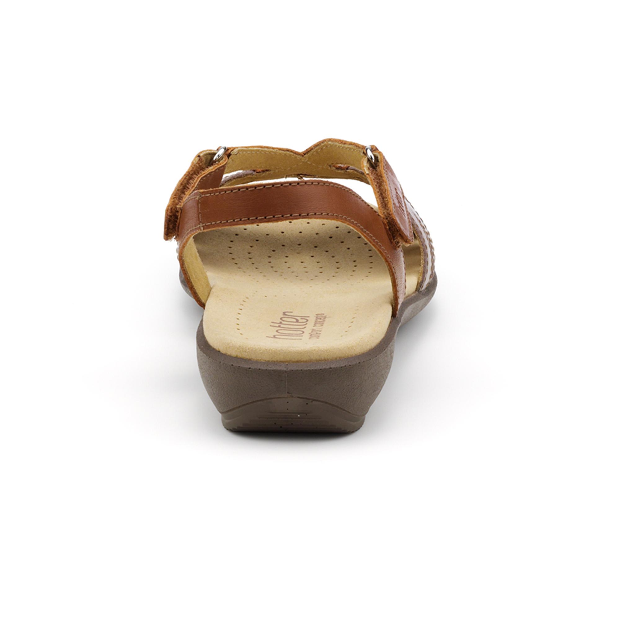 Hotter-Mujer-Flare-Senora-Tacon-Bajo-Sandalia-Verano-Casual-Calzado-Cuero-Textil