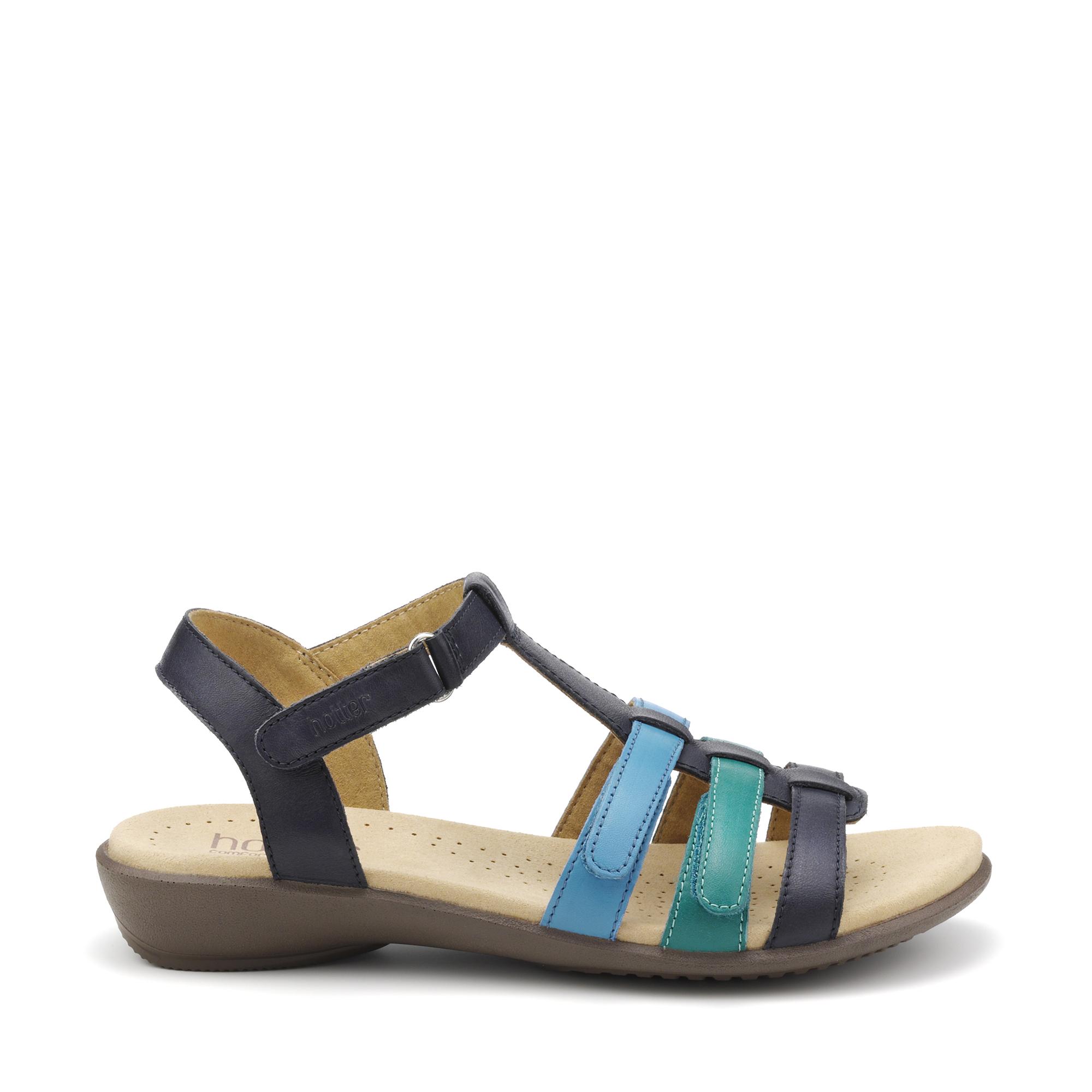 Hotter-Mujer-Sol-Senoras-Bajo-Tacon-Sandalias-Textil-Verano-Casual-Calzado