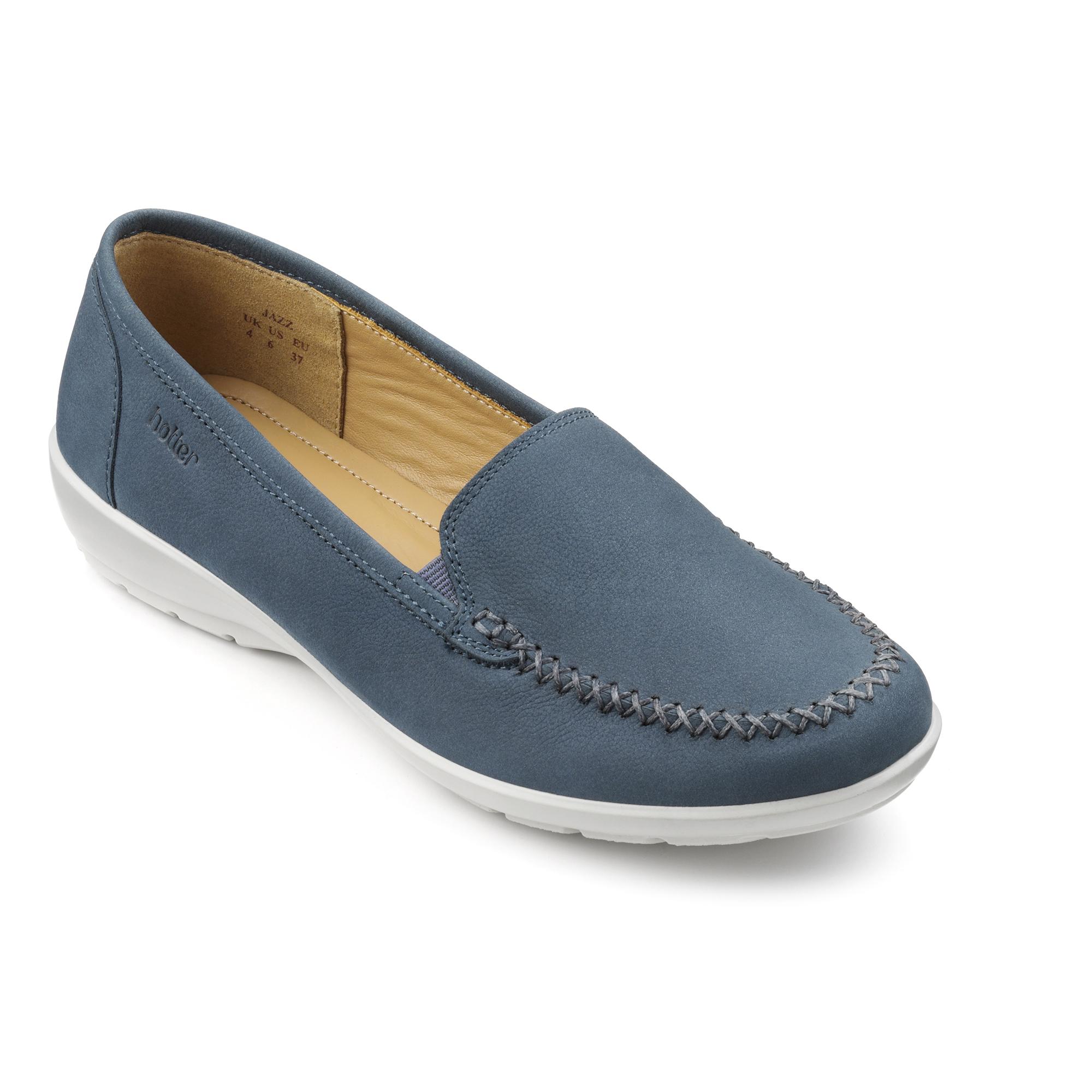 Hotter-Mujer-Jazz-Senoras-Ponerse-Zapatos-Calzado-Zapatillas-Cuero-Textil